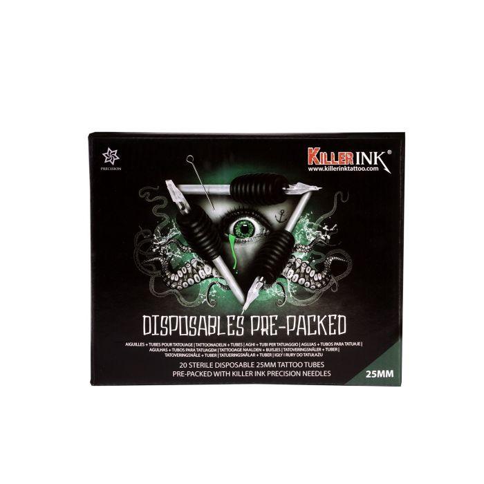 Gemengde Doos met 20 Killer ink Wegwerp Grip / Tip 25mm Tubes Voorverpakt met Killer Ink Precision 0.35MM Naalden