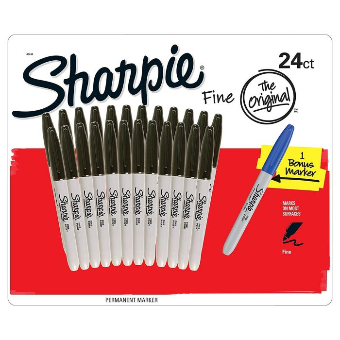 Doos met 24 Sharpie Fijne Punt Zwart Markers Plus 1 Blauwe Marker