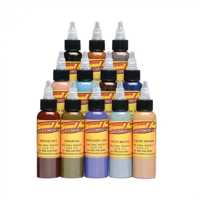 Complete Set met 12 Eternal Ink Zombie Colours 30ml (1oz)