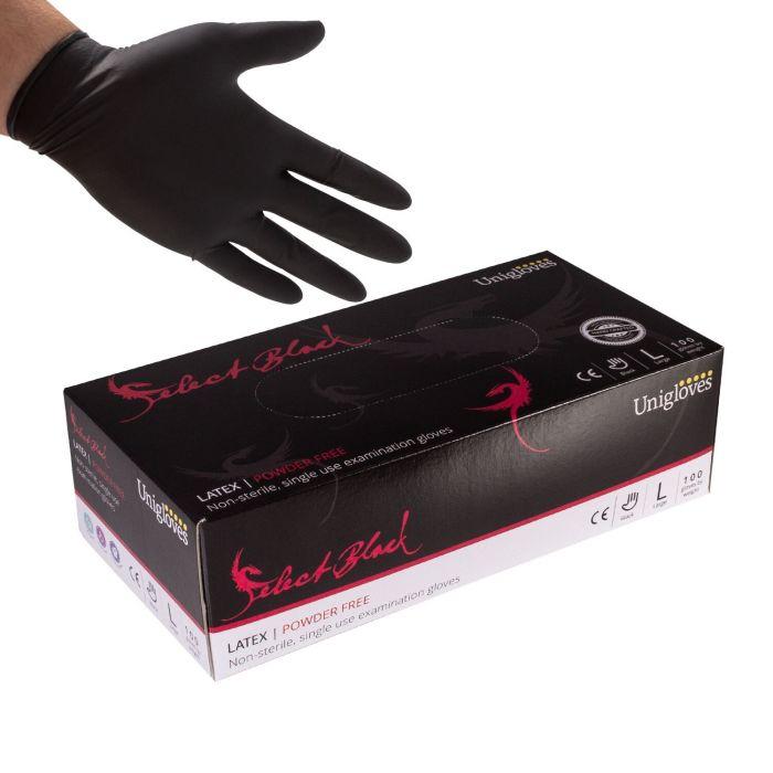 Doos met 100 Unigloves Select Black Poedervrije Latex Handschoenen