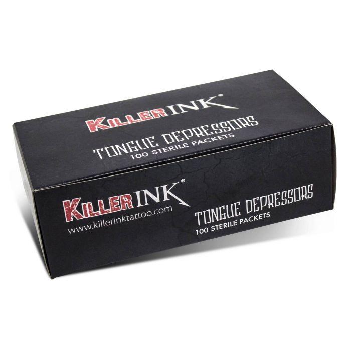 Doos met 100 Killer Ink Steriele Tongspatels in Steriele Verpakking