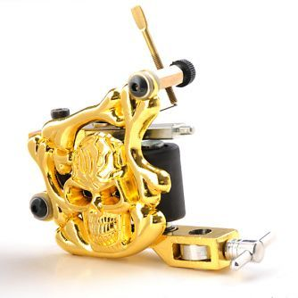 Gold Skull Liner / Shader Tattoo Machine